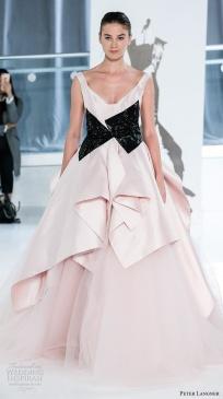 peter-langner-spring-2018-bridal-sleeveless-v-neck-black-accent-simple-pink-princess-ball-gown-wedding-dress-open-v-back-chapel-train-01-mv
