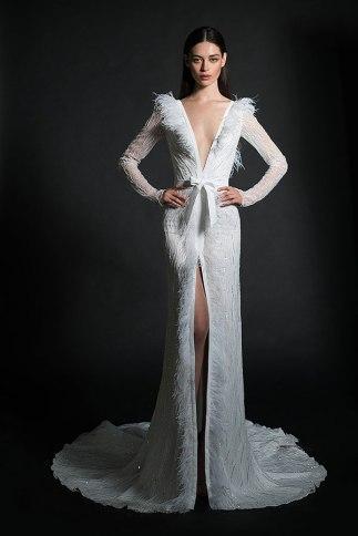 feather-fringe-wedding-dress-inbal-dror-bridal-fashion-week-spring-2019